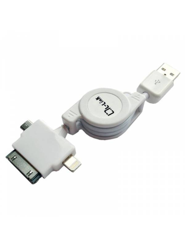 CABLE USB 2.0 RETRACTIL 3 EN 1 IPHONE5MINIIPAD4S3GS