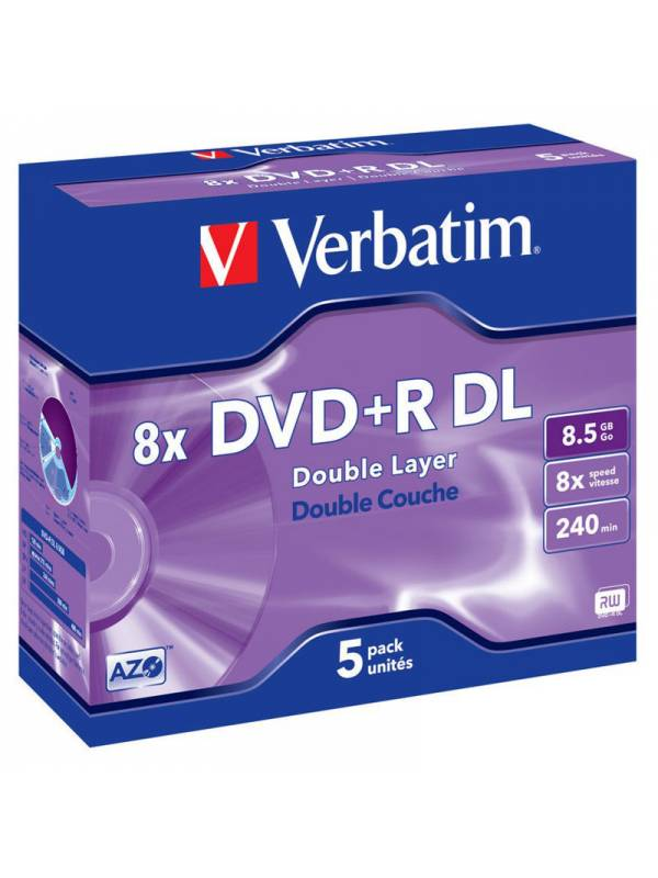 DVD VERBATIM  5 UNDS  8X 8.5GB  +R DL (DOBLE CAPA)