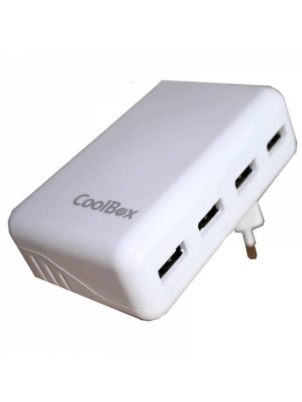 CARGADOR  5V ENCHUFE COOLBOX   4X USB BLANCO