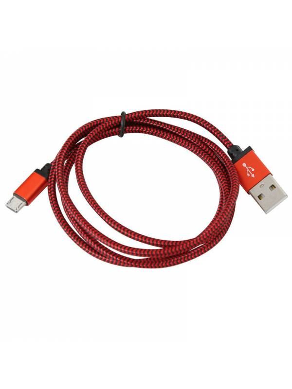 CABLE USB 2.0  1M A MICRO USB  TELA ROJO