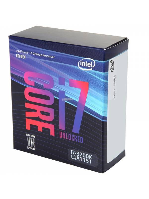 CPU INTEL S-1151 CORE I7-8700K  3.7GHZ BOX SIN VENTILADOR