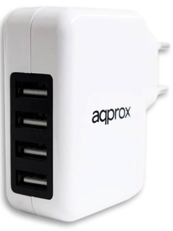 CARGADOR  5V ENCHUFE APPROX 4X  USB BLANCO