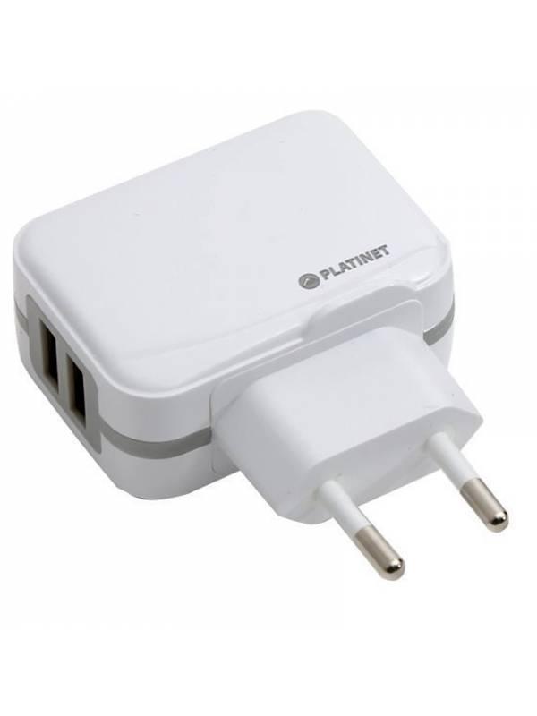 CARGADOR  5V ENCHUFE OMEGA USB  2x 3.4A BLANCO