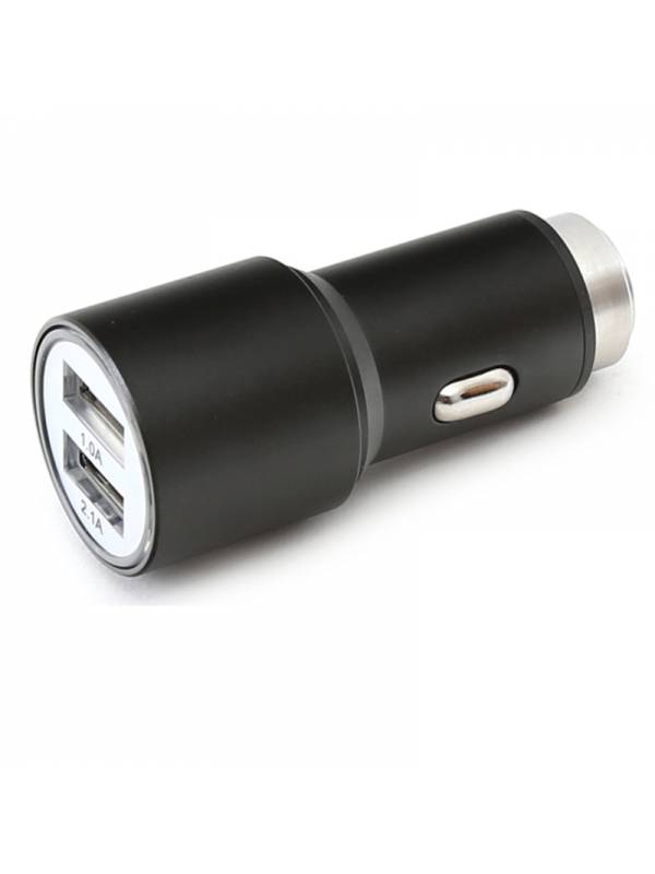 CARGADOR  5V COCHE 2X USB OMEG A METAL NEGRO