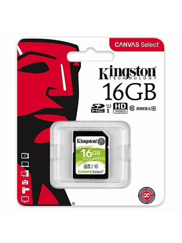 MEMORIA DG  16GB KINGSTON SD   CLASE 10 CANVAS SELECT 80R