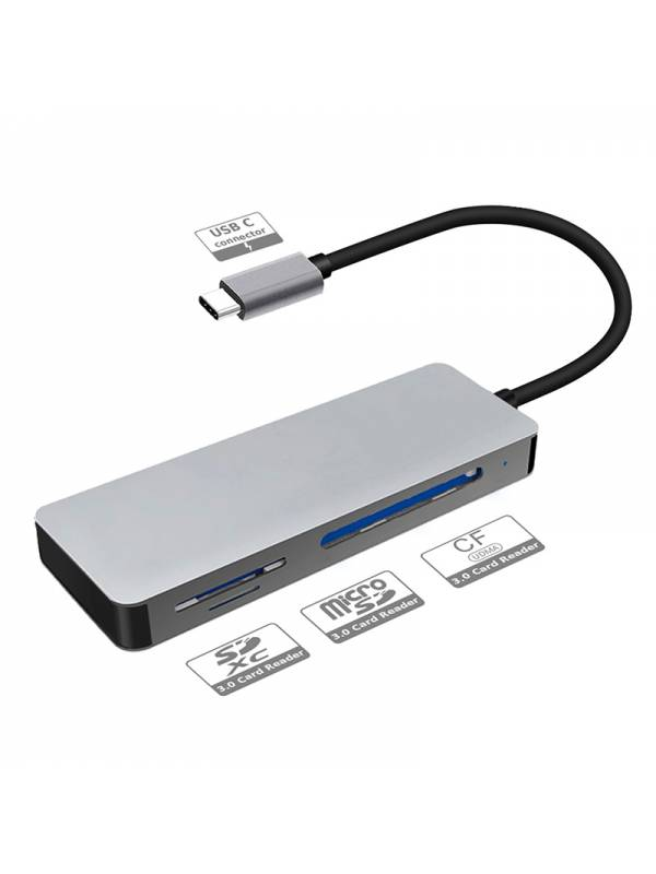 LECTOR EXT. PLATINET 3&1 USB-C  GRIS ALUMINIO