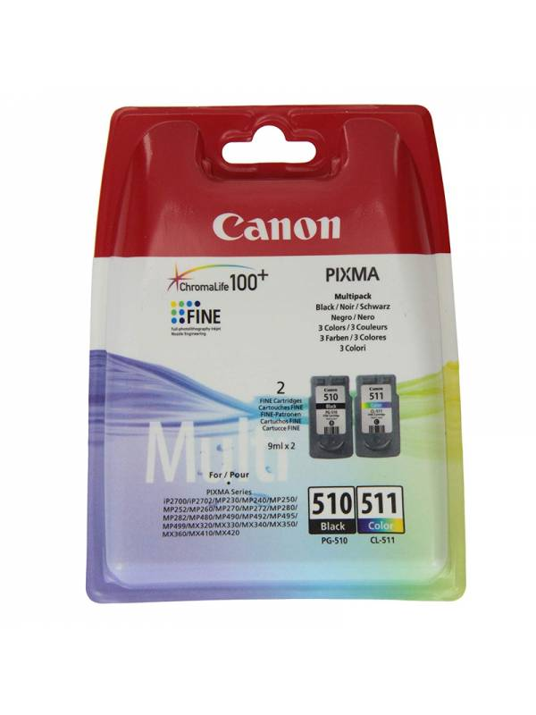 CARTUCHO CANON PG-510 + CL-511 MULTIPACK CHROMA LIFE 100+