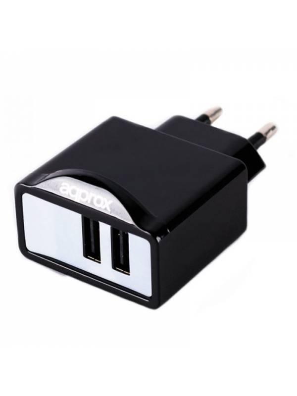 CARGADOR  5V ENCHUFE APPROX 2X  USB 2.1A NEGRO