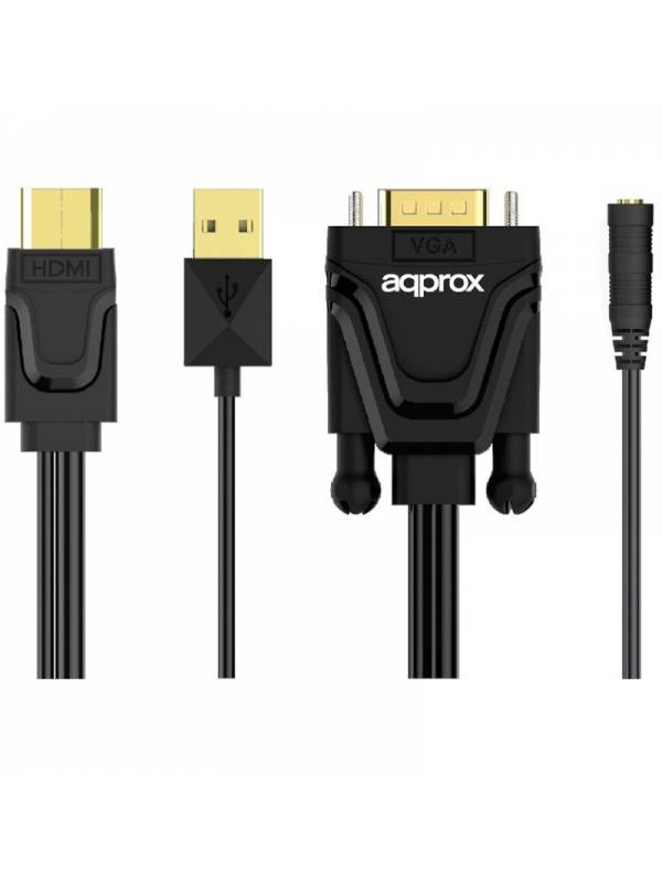 ADAPT. HDMI A VGA + AUDIO      NEGRO APPROX