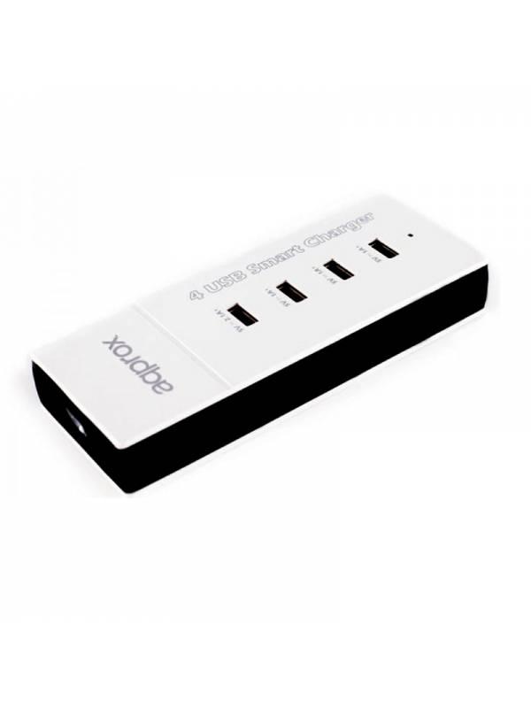 CARGADOR 4 PTOS APPROX USB BLA NCO 2.1A