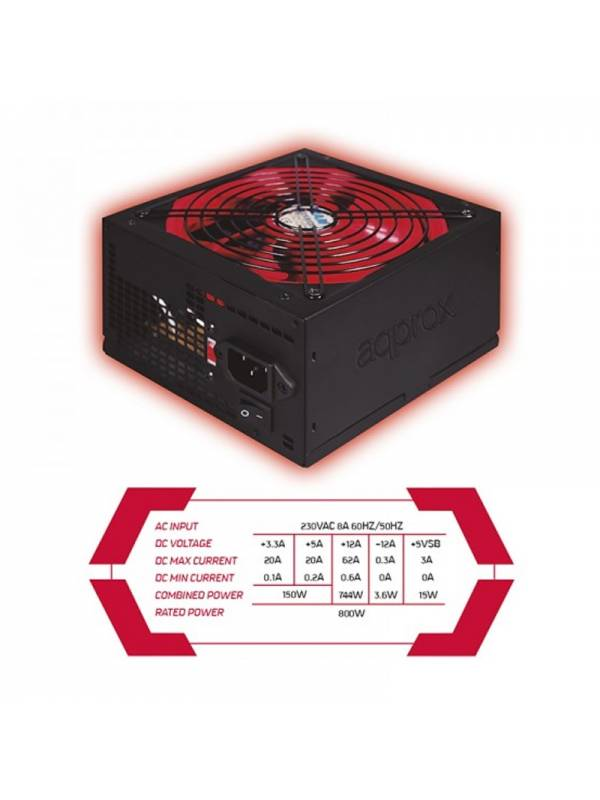 FUENTE 800W62A 85% APPROX APP 800PSV2 GAMING