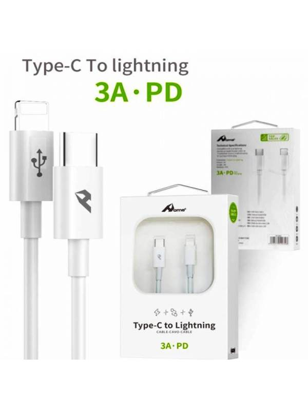 CABLE TIPO C - LIGHTNING 1M BL ANCO