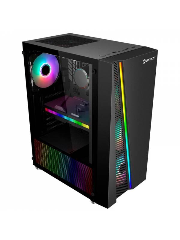 CAJA MICRO ATX GLAYZE BLACK    USB 3.0 RGB SIN FUENTE