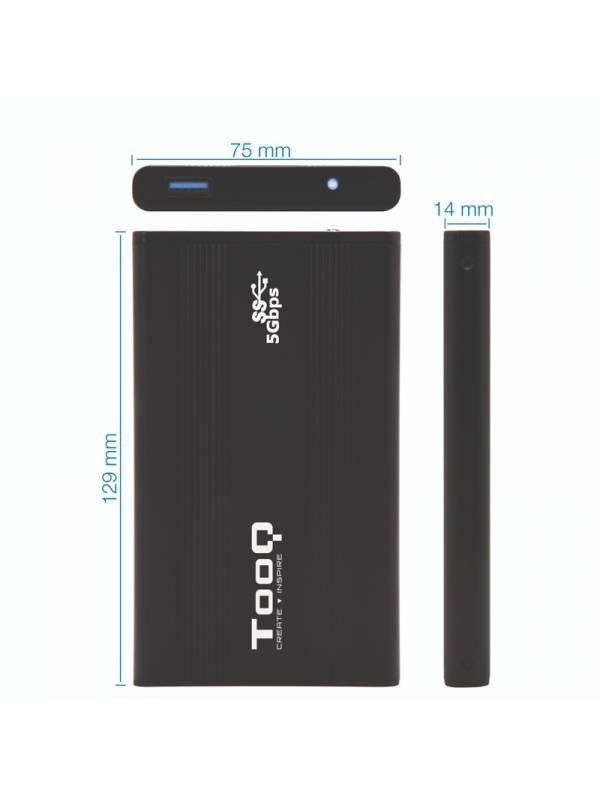 CAJA 2.5 USB 3.0 TOOQ TQE-252 4B 9.5MM SATA NEGRO