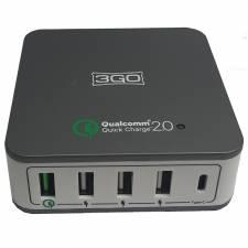 CARGADOR  5V USB 3GO 40W 1QC+3 USB+1 TIPO C