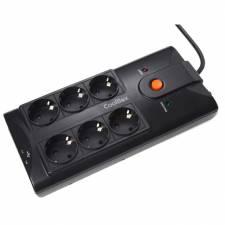 REGLETA 6 TOMAS COOLBOX NEGRA  + 2 PTOS USB