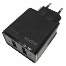 CARGADOR  5V ENCHUFE 2X USB QC 3.0 NEGRO