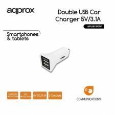 CARGADOR  5V COCHE 2X USB 3.1A  BLANCO
